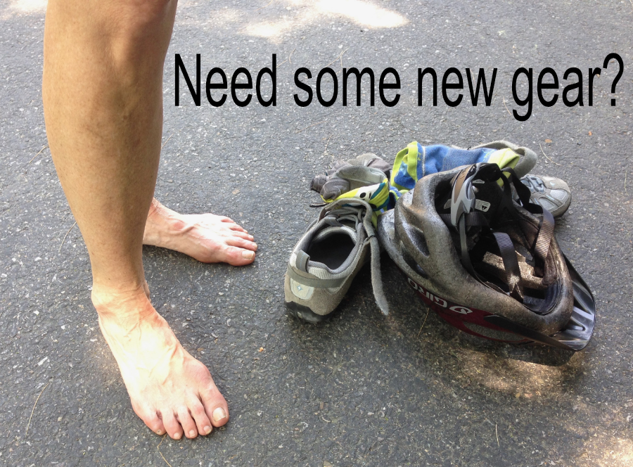 sore feet with shoes and helmet